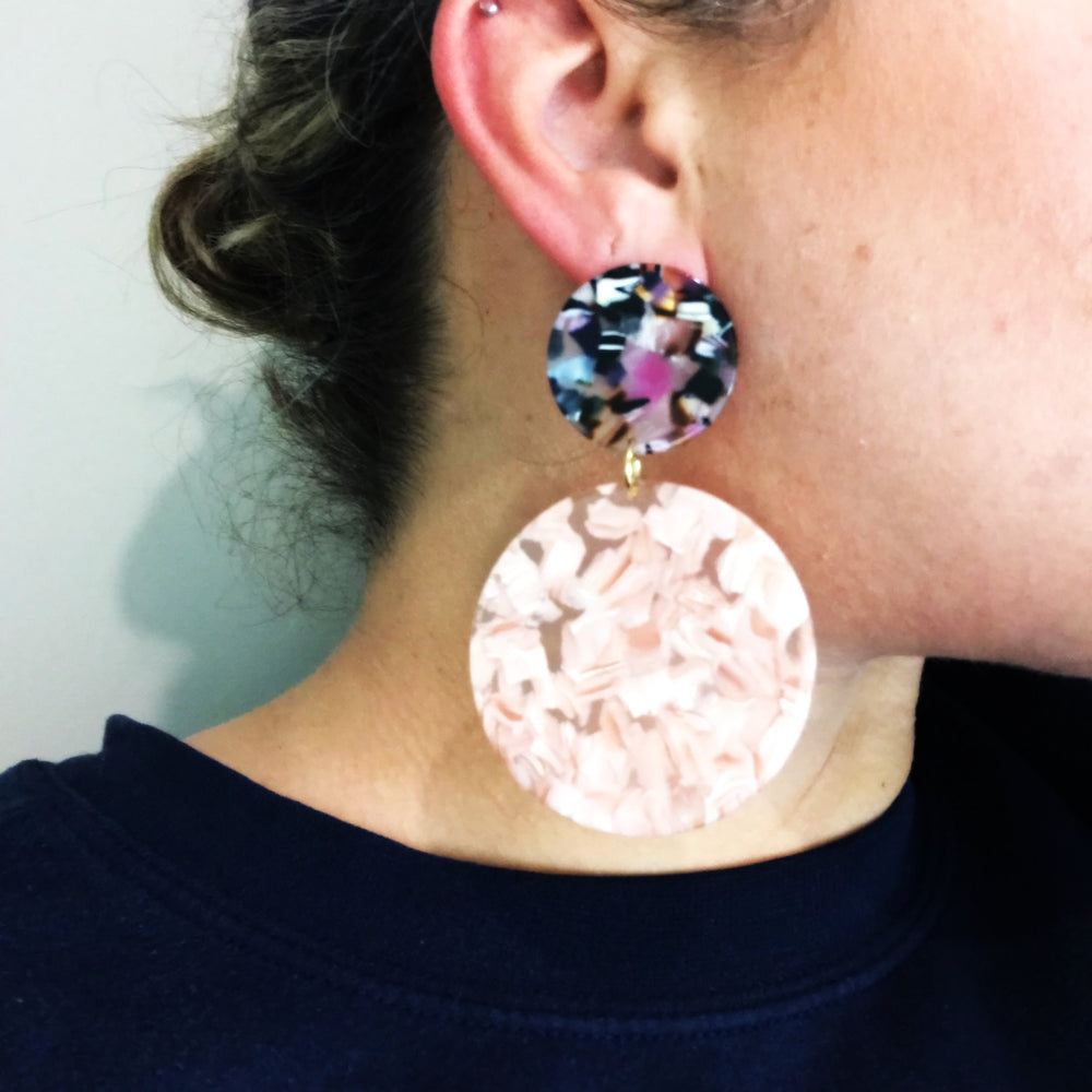 Circle Drop Earrings in Pink with Multicolor Stud