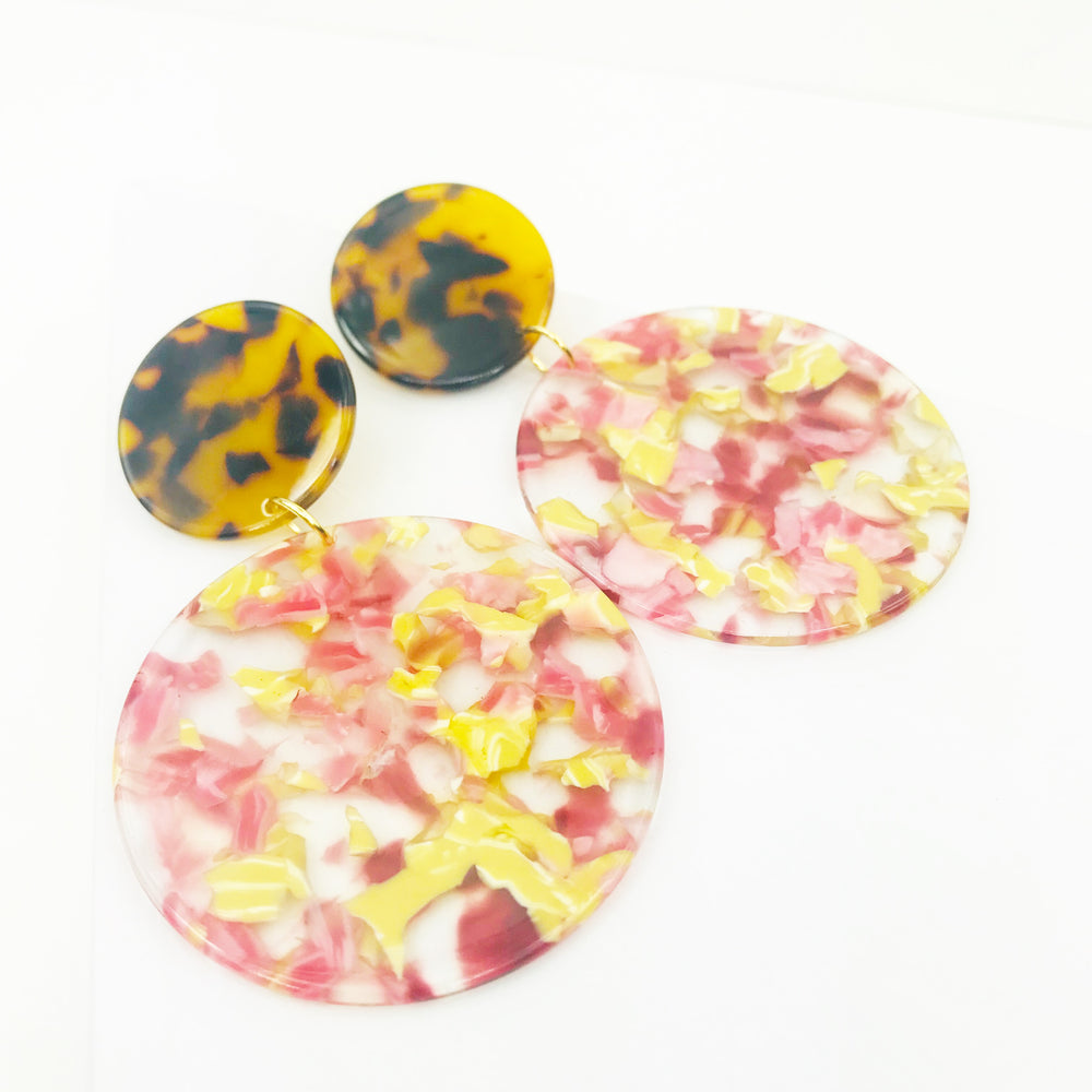 Circle Drop Earrings in Pink and Yellow with Tortoise Stud