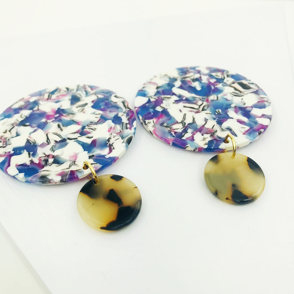 Circle Drop Earrings in Purple with Blonde Tortoise Stud