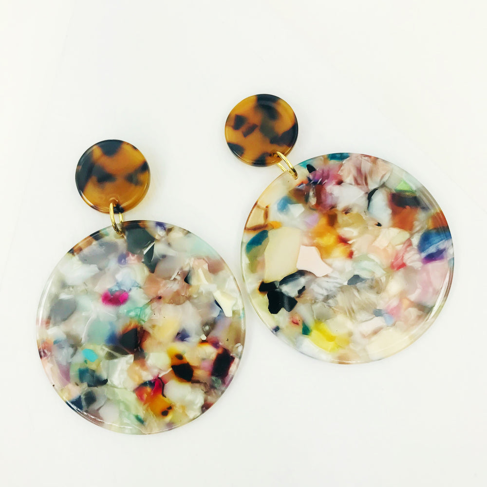 Circle Drop Earrings in Light Multicolor with Tortoise Stud
