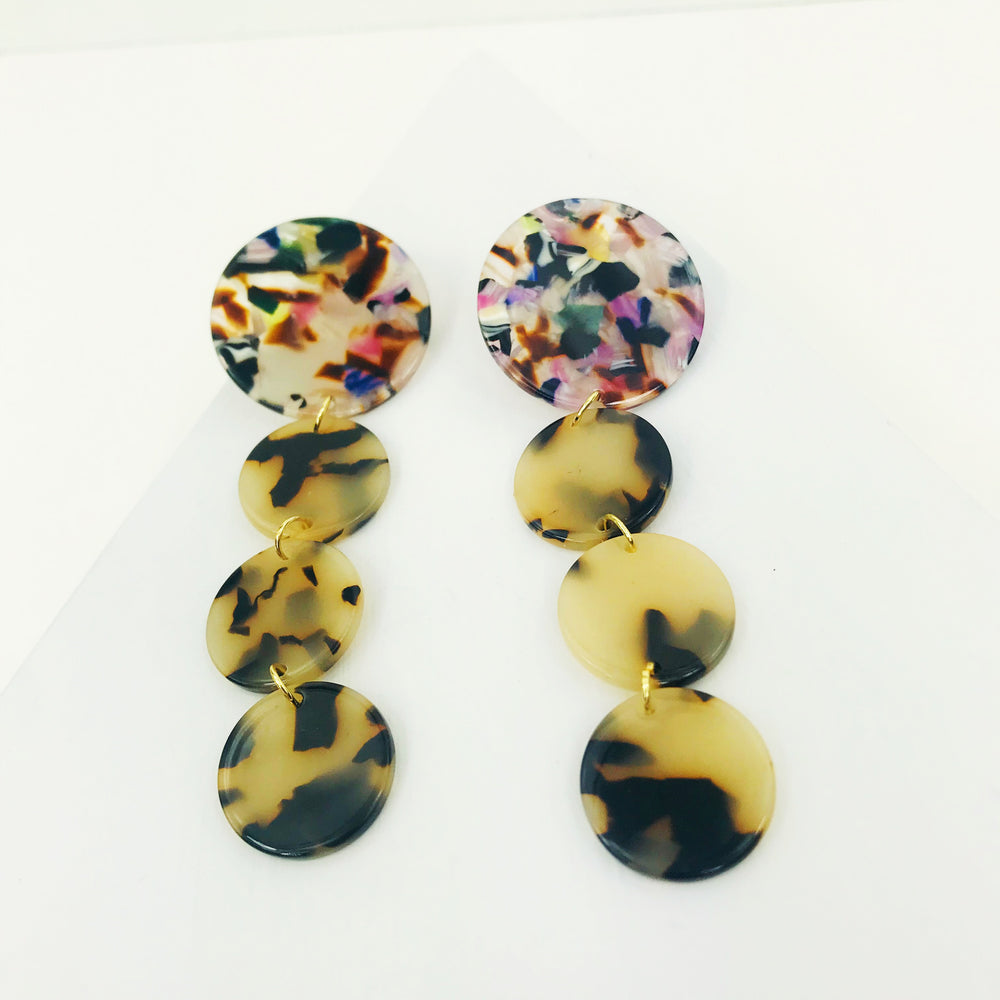 Dot Drop Earrings in Blond Tortoise with Multi Stud