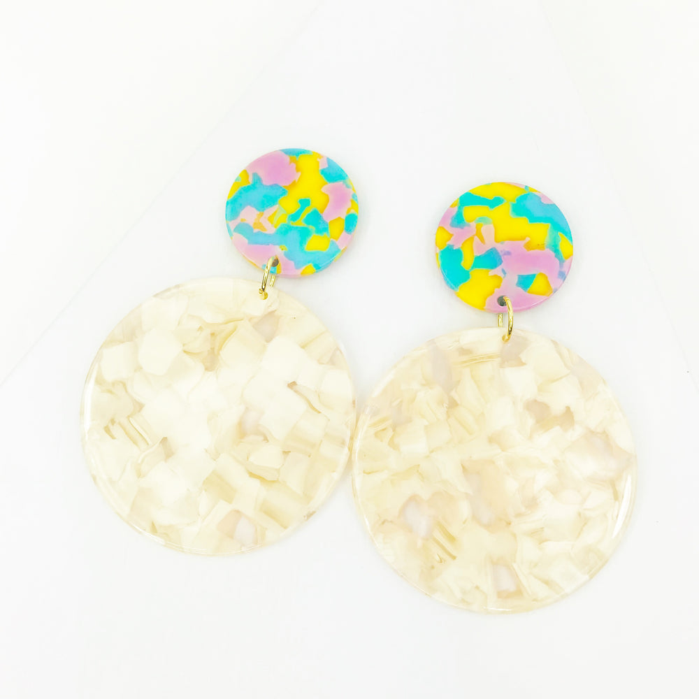 Circle Drop Earrings in Cream with Pink, Blue, Yellow Stud