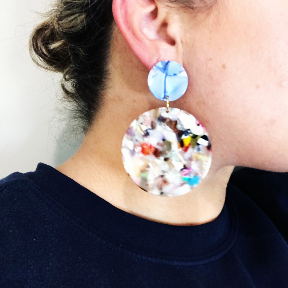 Circle Drop Earrings in Light Multicolor with Blue Stud