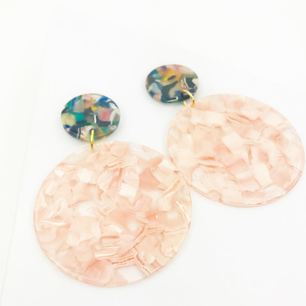 Circle Drop Earrings in Pink with Green Stud