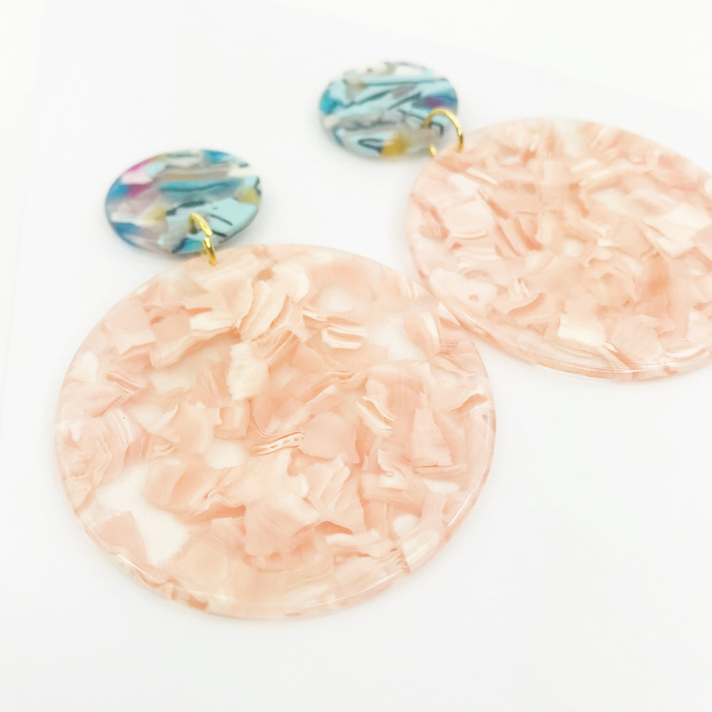 Circle Drop Earrings in Pink with Blue Mix Stud