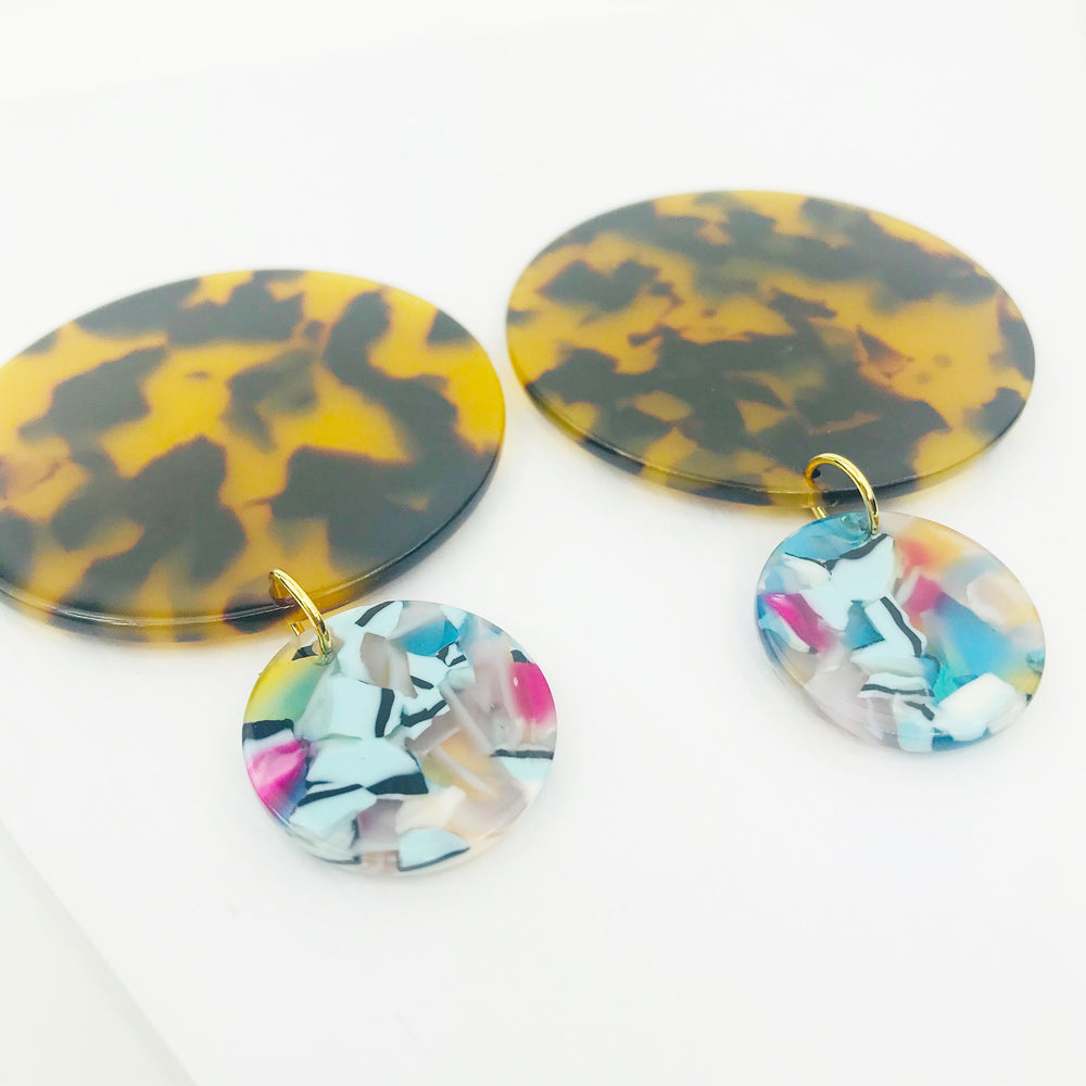 Circle Drop Earrings in Tortoise with Blue Mix Stud