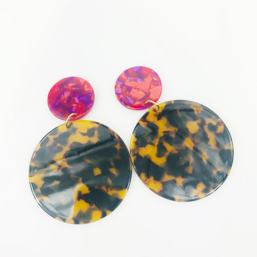 Circle Drop Earrings in Tortoise with Pink Stud