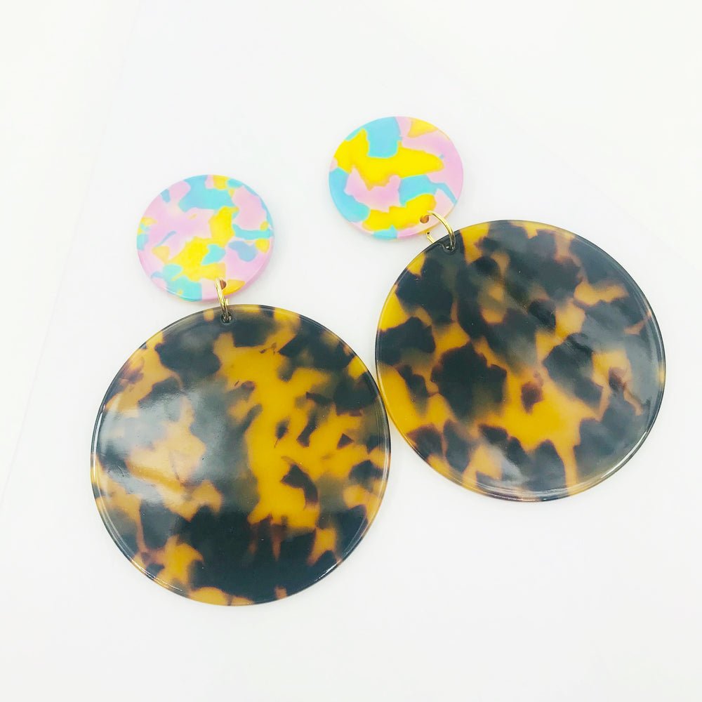 Circle Drop Earrings in Tortoise with Pink, Blue, Yellow Stud