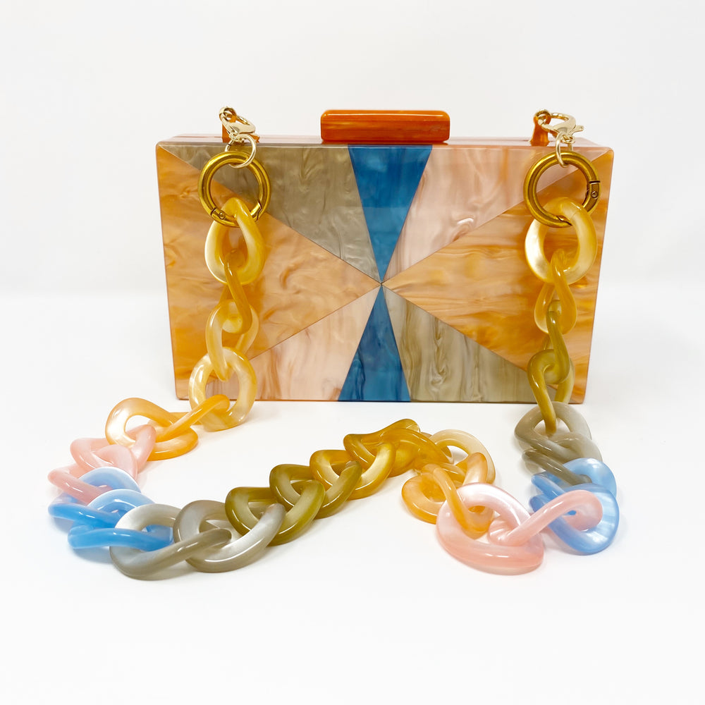Chain Link Short Acrylic Purse Strap in Pastel Mix