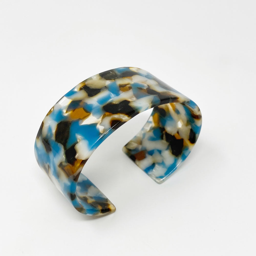 Large Cuff in Brown, White and Teal
