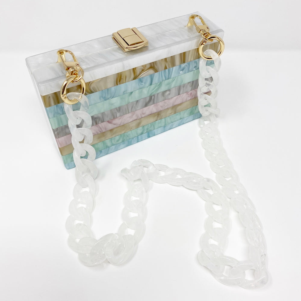 Chain Link Short Acrylic Purse Strap in White