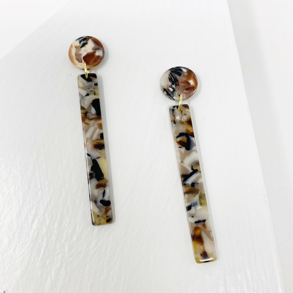 Matchstick Drop Earrings in Gray, Black, Cream and Brown
