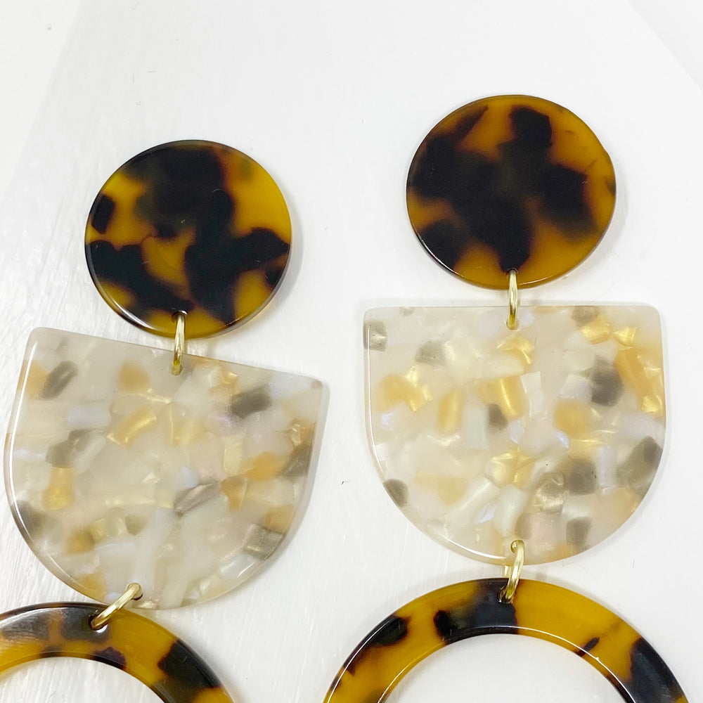 Tab and Hoop Drop Earrings in Tortoise with Iridescent Cream Tab