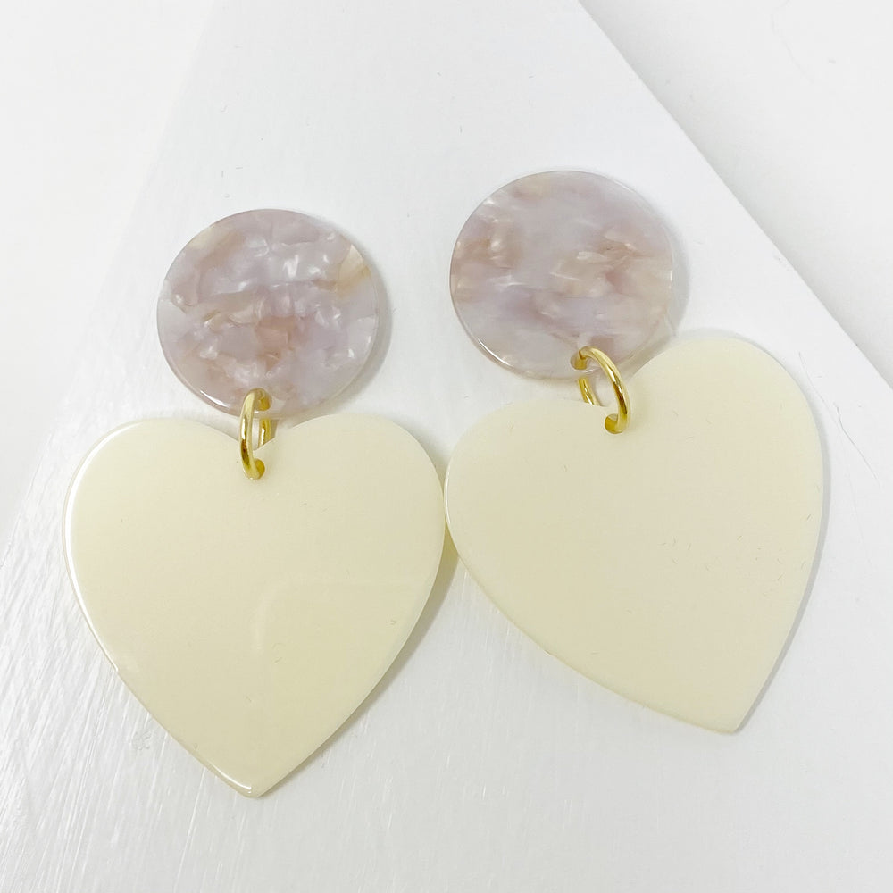 Heart Earrings in Cream with Purple and Cream Stud