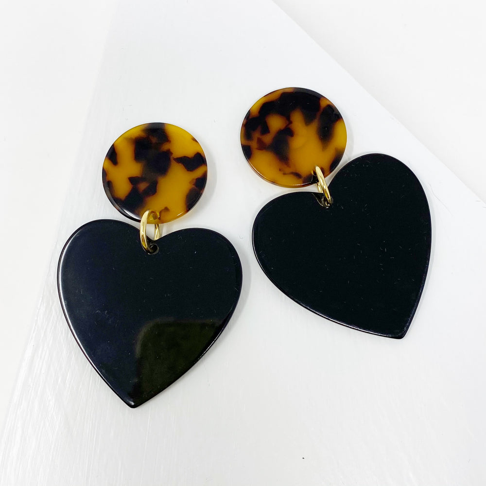 Heart Earrings in Black with Tortoise Stud
