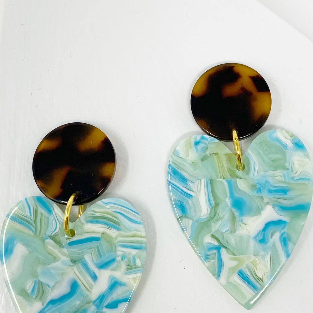 Heart Earrings in Blue and Green with Tortoise Stud
