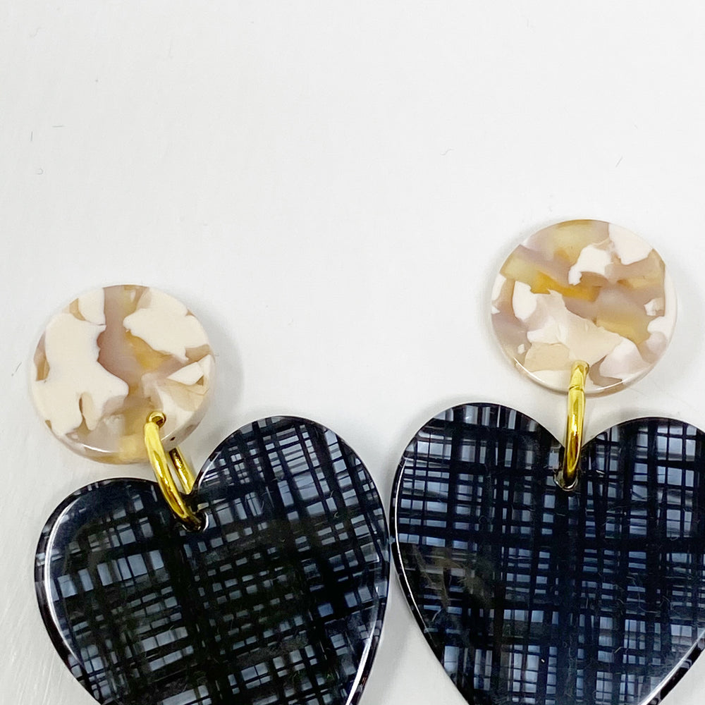 Heart Earrings in Black Plaid with Pink and Cream Stud