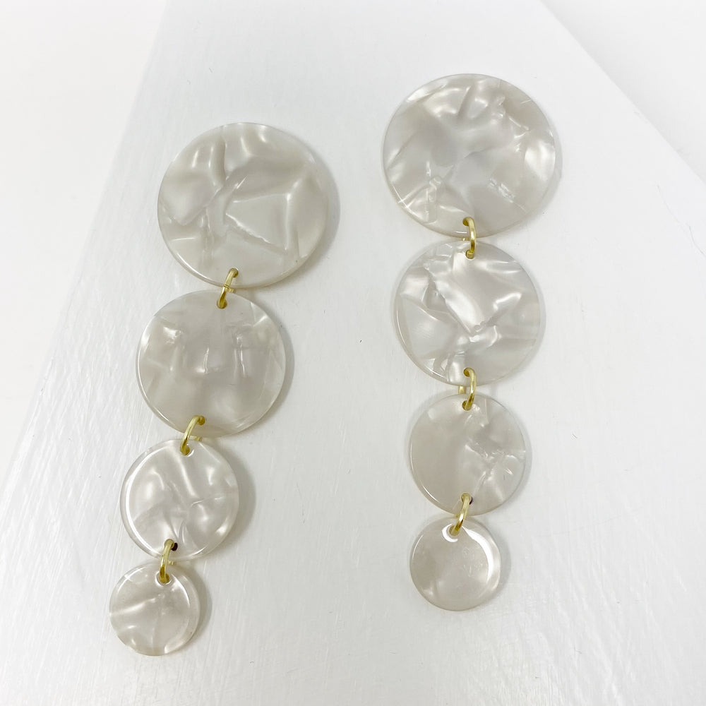 Dot Drop Earrings in White