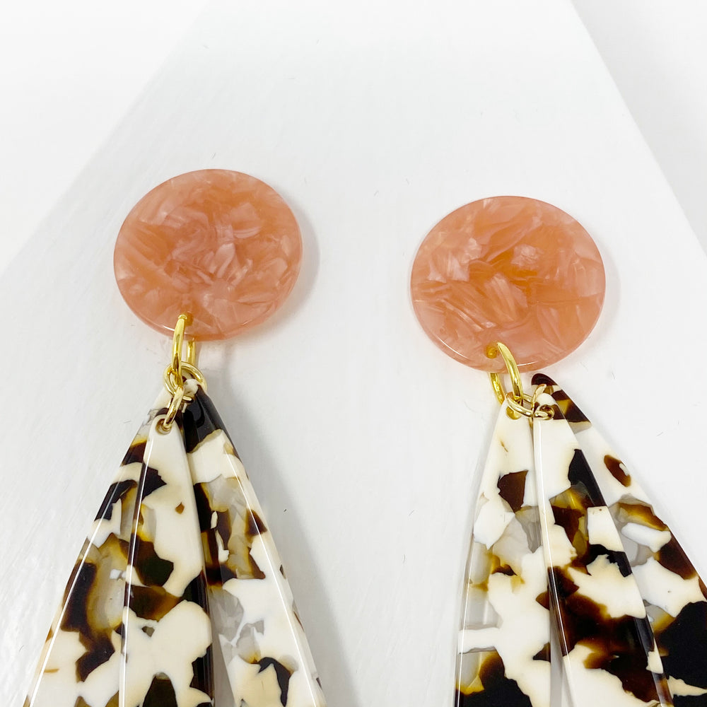 Petal Drop Earrings in Brown and White with Coral Stud