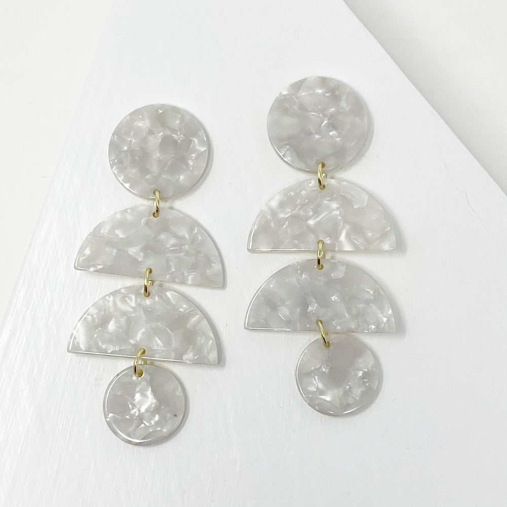 Double Half Moon Drop Earrings in White