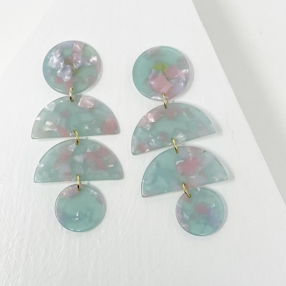 Double Half Moon Drop Earrings in Pink and Mint