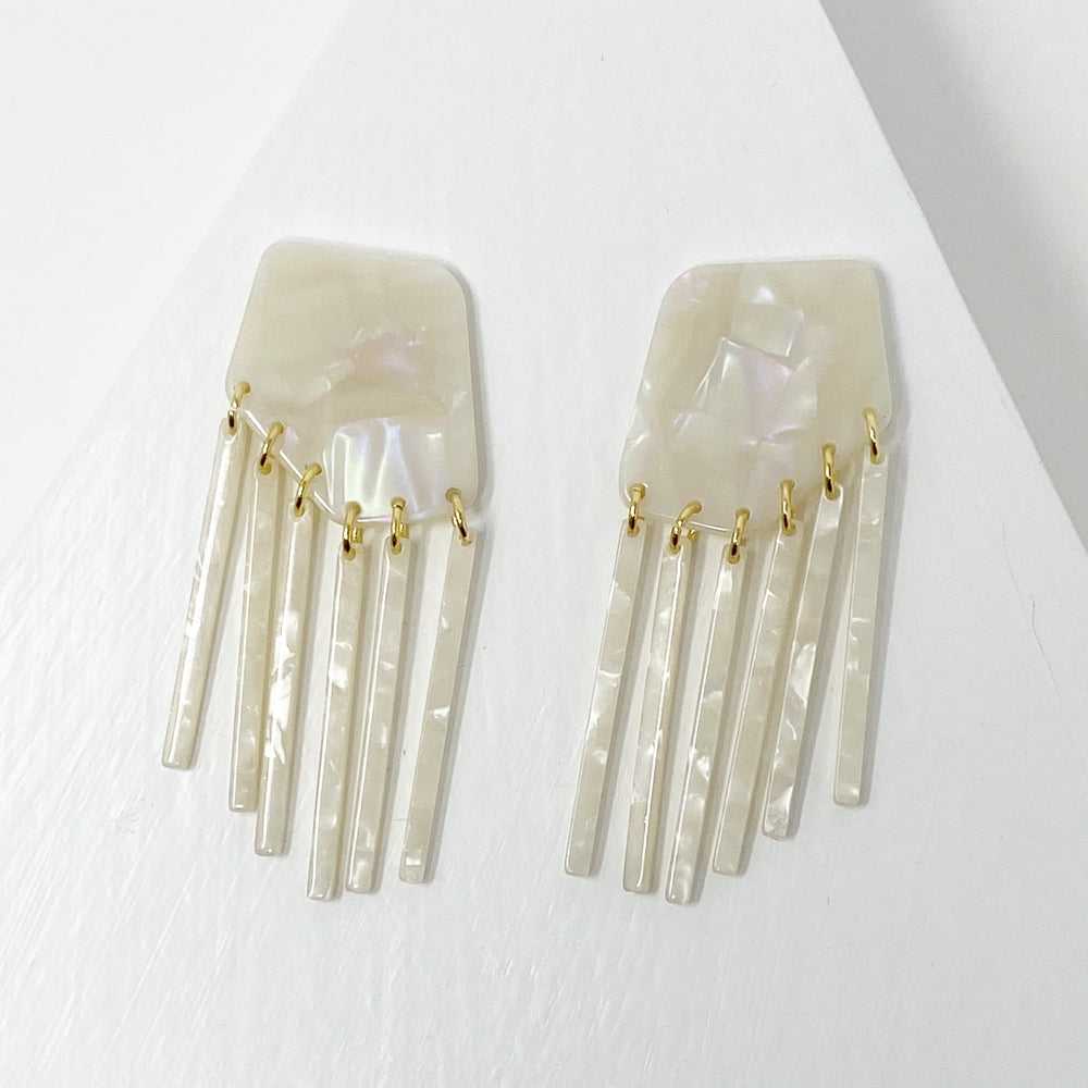Shield Earrings Iridescent White