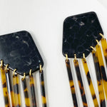 Shield Earrings in Black Crackle with Tortoise Fringe