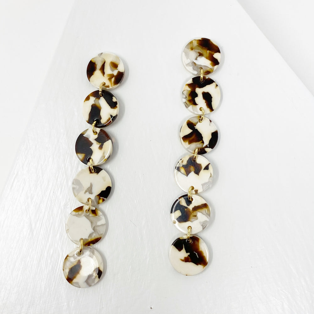 Mini Dot Drop Earrings in Brown and White