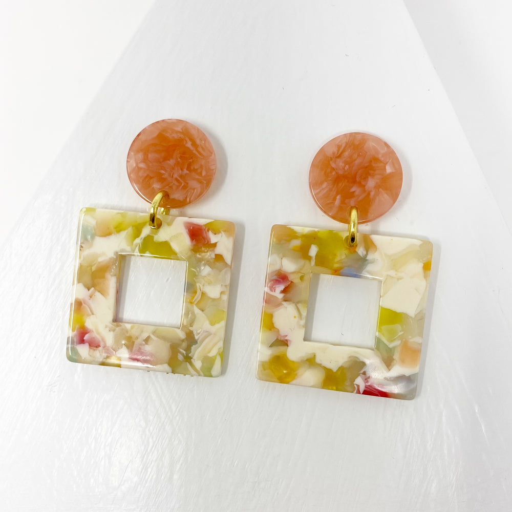 Small Open Square in Spring Mix with Coral Stud