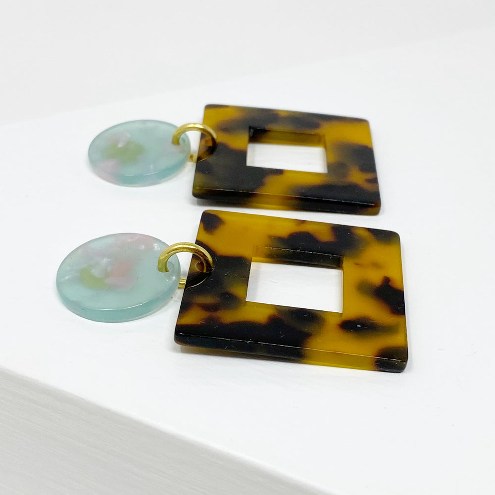 Small Open Square Drop Earrings in Tortoise with Teal and Pink Stud