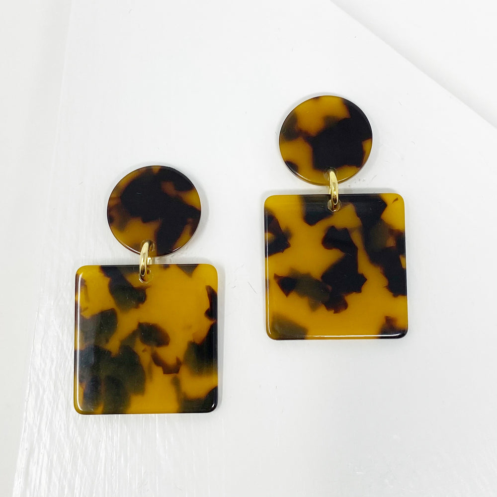Square Drops Earrings in Tortoise