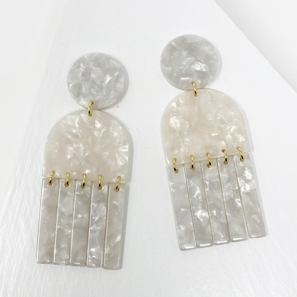 Tab and Fringe Drop Earrings in White