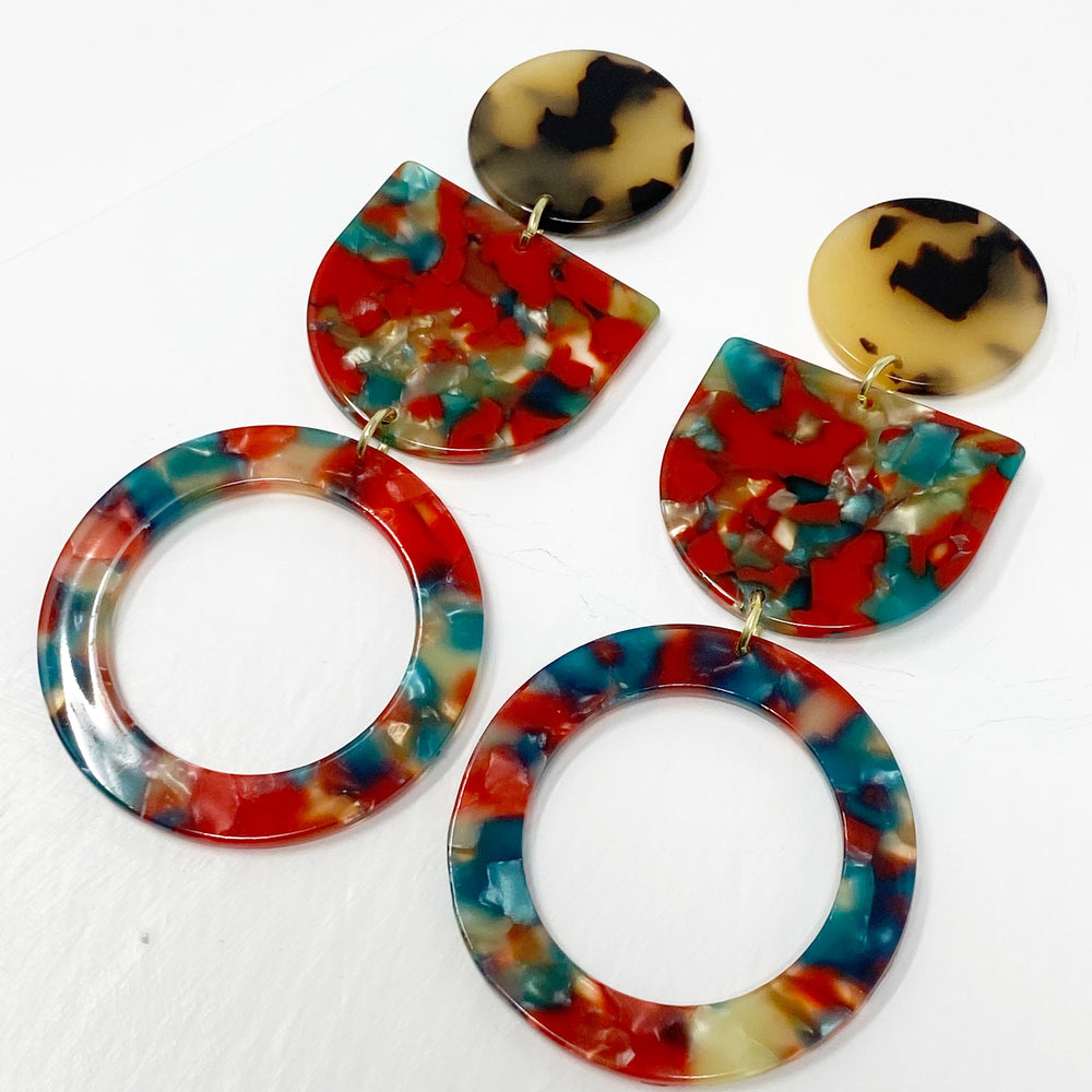 Tab and Hoop Drop Earrings in Red and Green