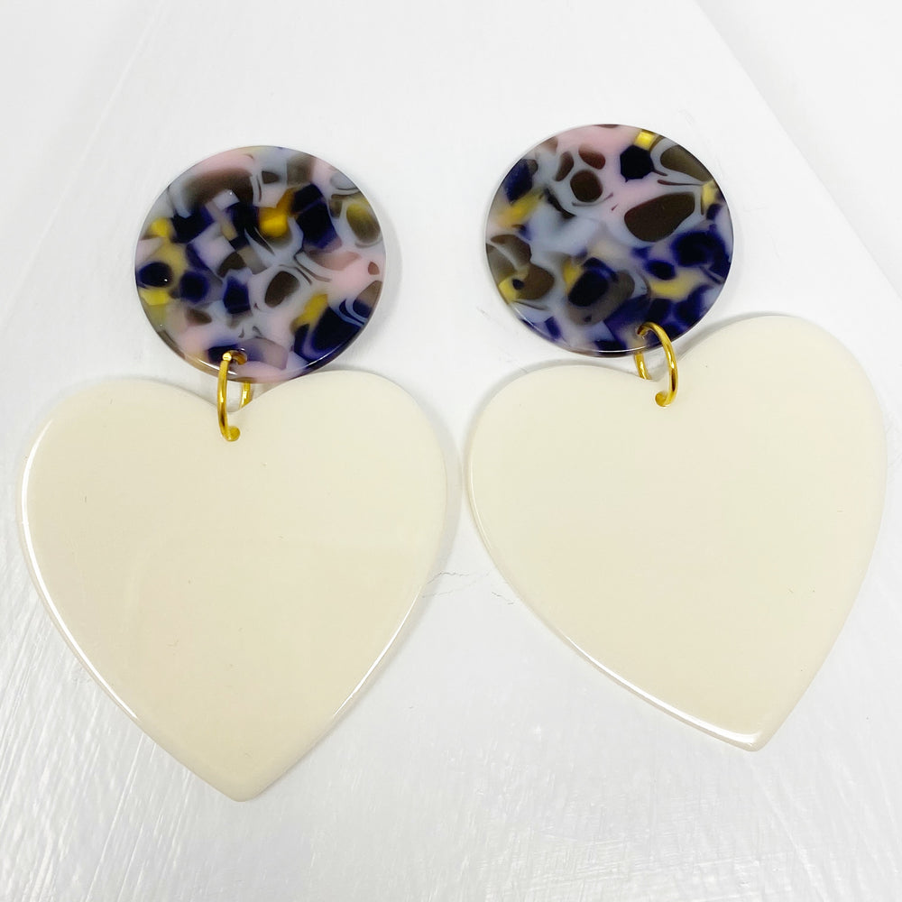 Heart Earrings in Cream