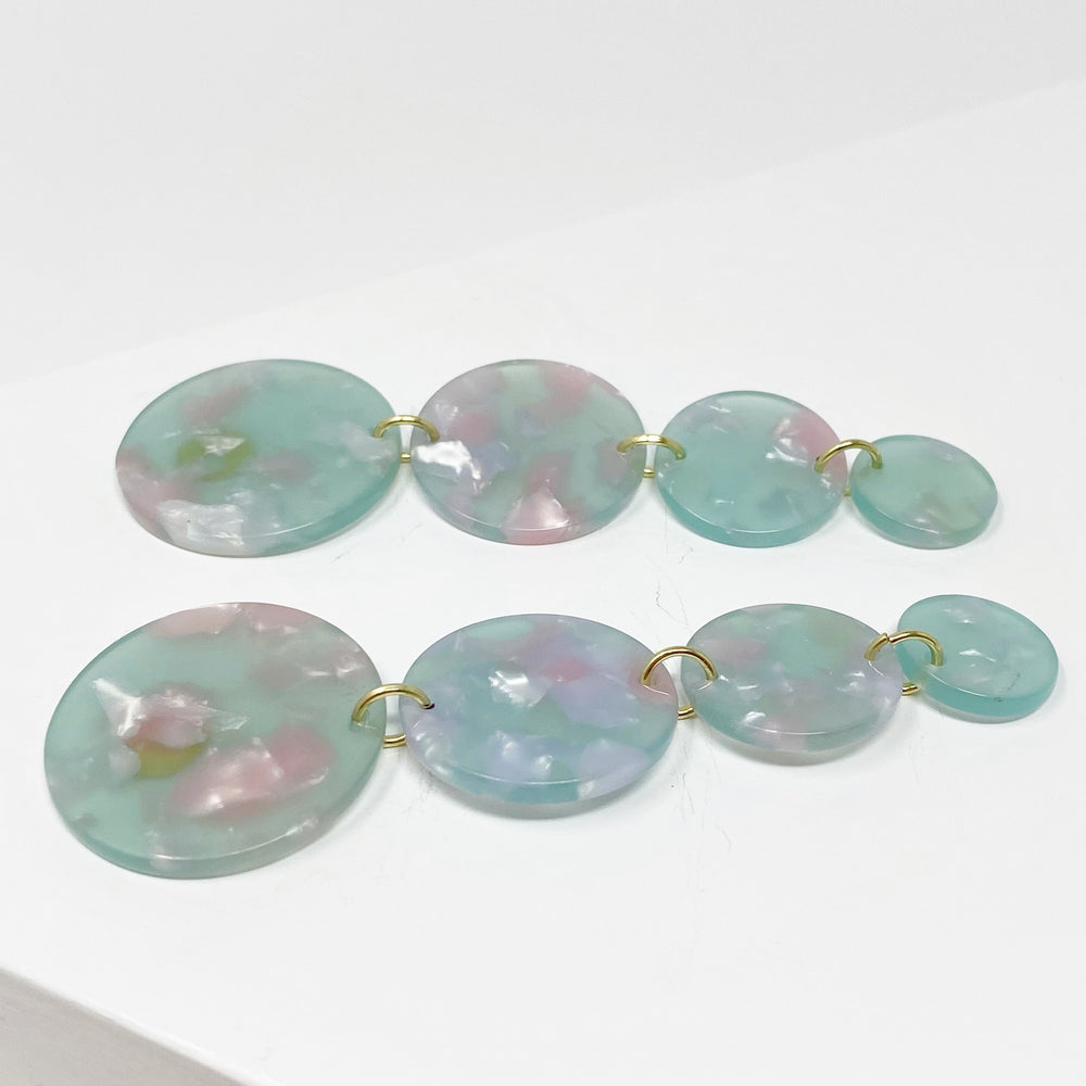 Dot Drop Earrings in Mint and Pink