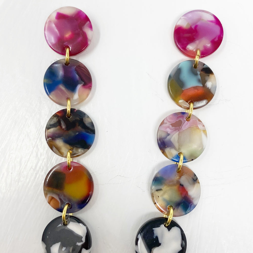 Mini Dot Drop Earrings in Multicolor with Black and White
