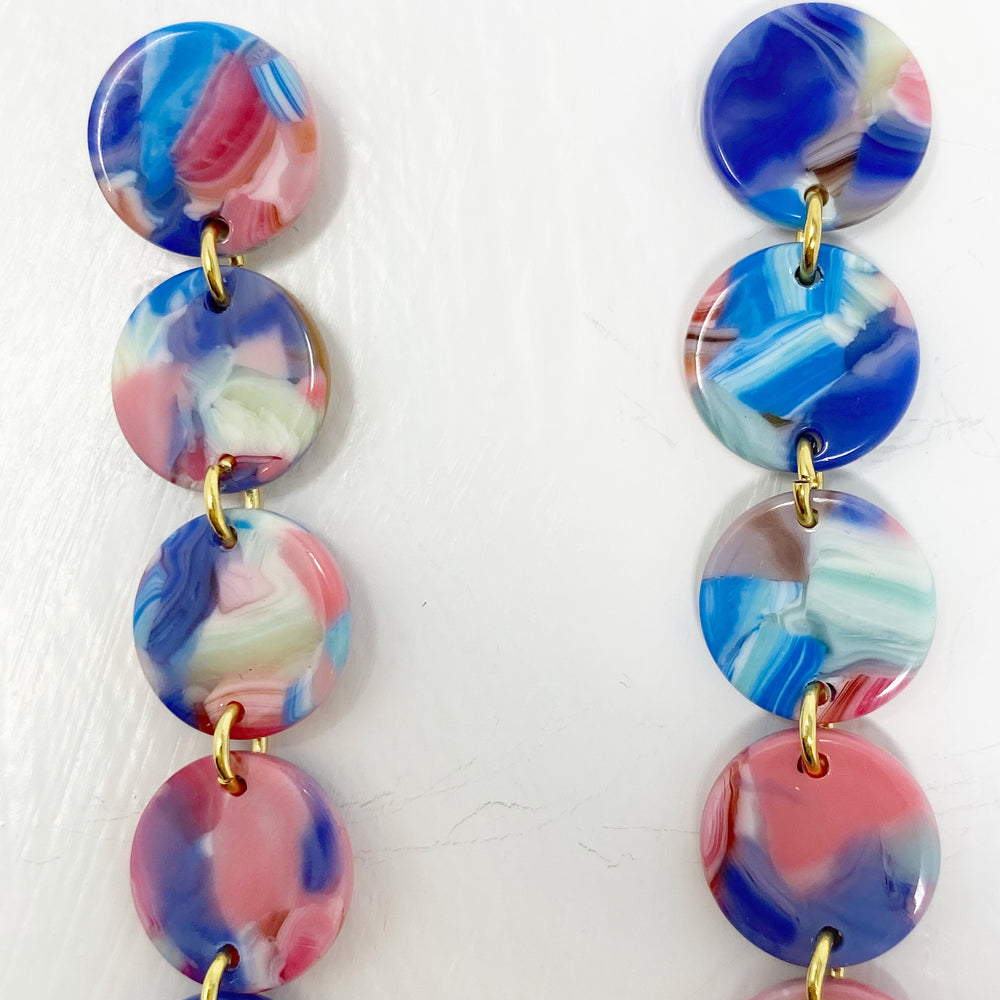 Mini Dot Drop Earrings in Blue and Pink Mix