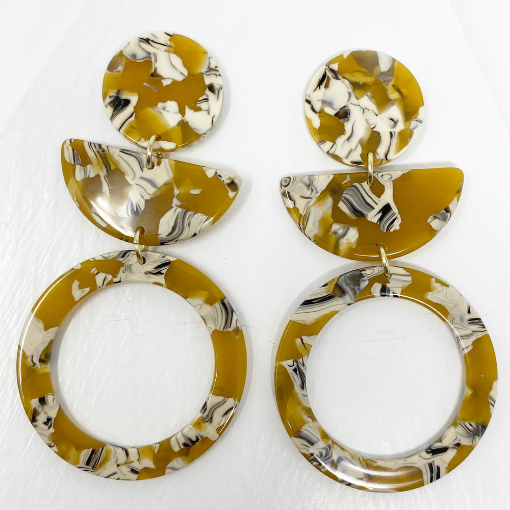 Hoop and Half Moon Drop Earrings in Amber