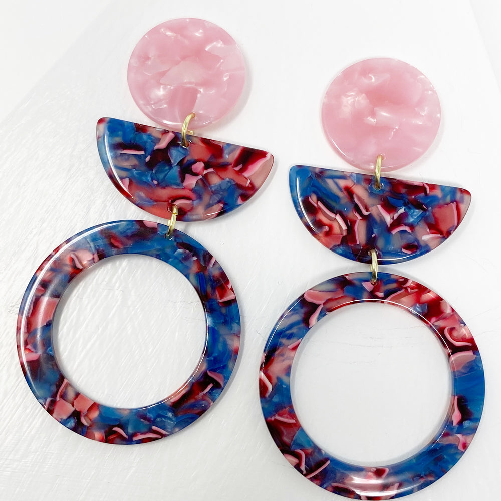 Hoop and Half Moon Drop Earrings in Pink and Blue