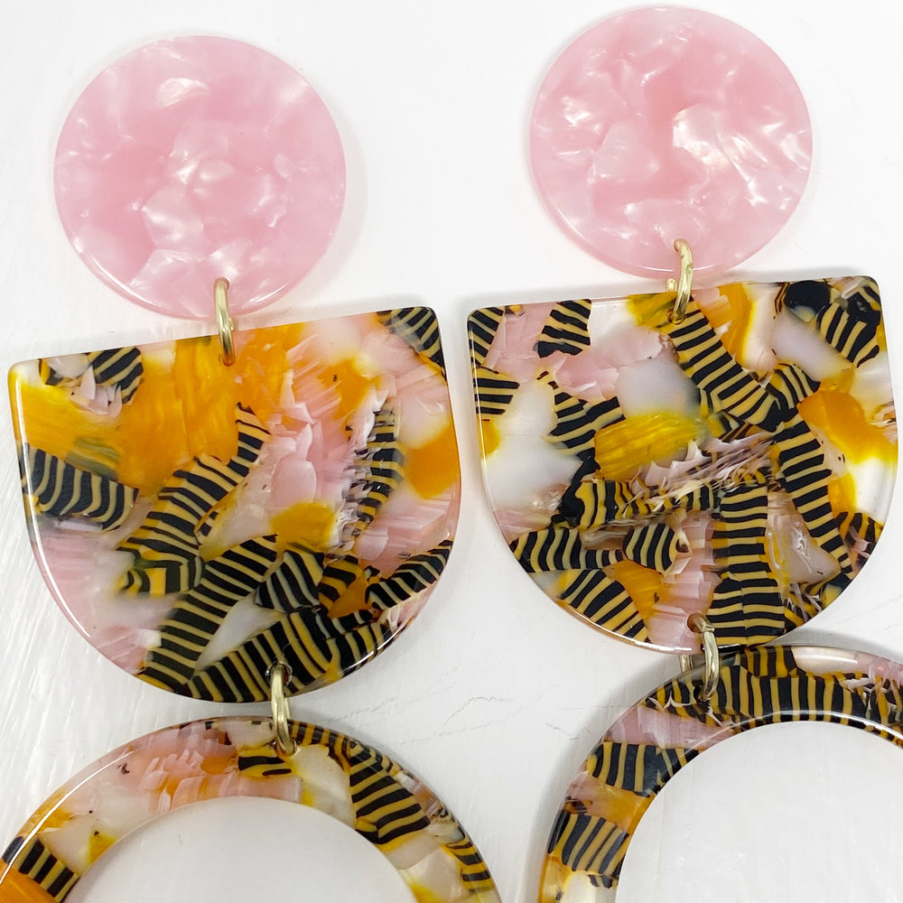 Tab and Hoop Drop Earrings in Pink and Yellow