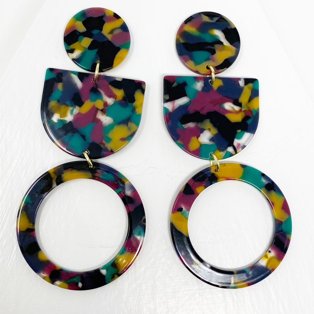 Tab and Hoop Drop Earrings in Jungle Punch