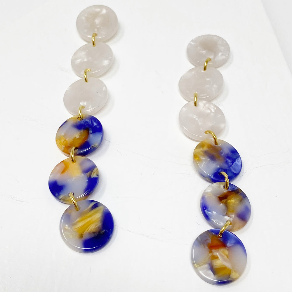 Mini Dot Drop Earrings in White with Purple and Amber