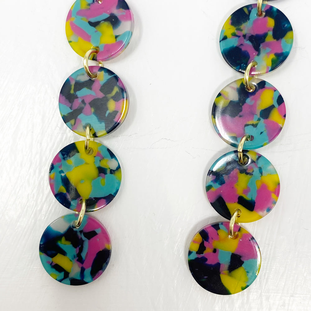 Mini Dot Drop Earrings in Pink, Yellow and Blue