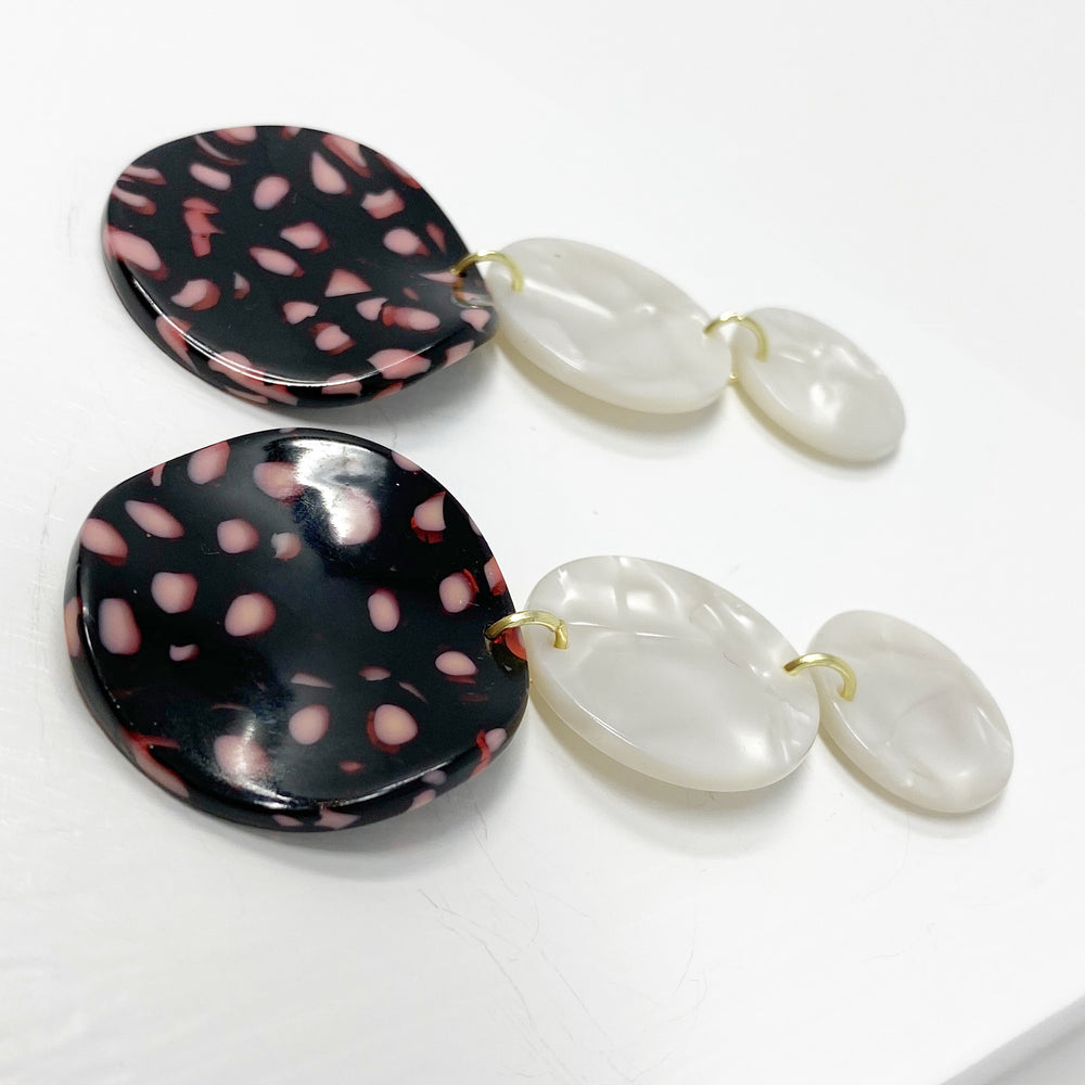 Dot Drop Earrings in Pink and Navy Leopard
