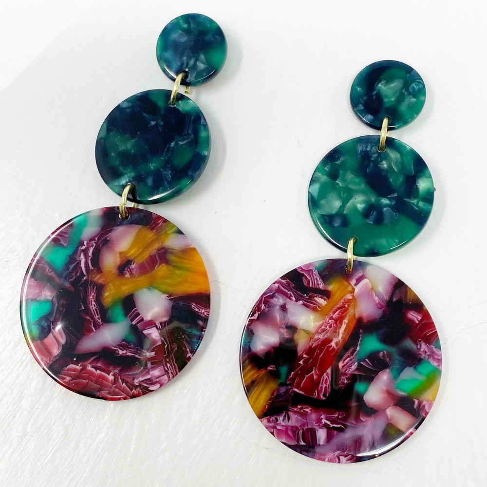 Dot Drop Earrings in Magenta, Amber and Green
