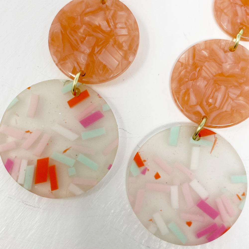Dot Drop Earrings in Pink Confetti