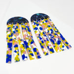 Double Fringe Earrings in Pink, Blue, Yellow and White