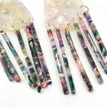 Shield Earrings in Light Pink with Multicolor Fringe