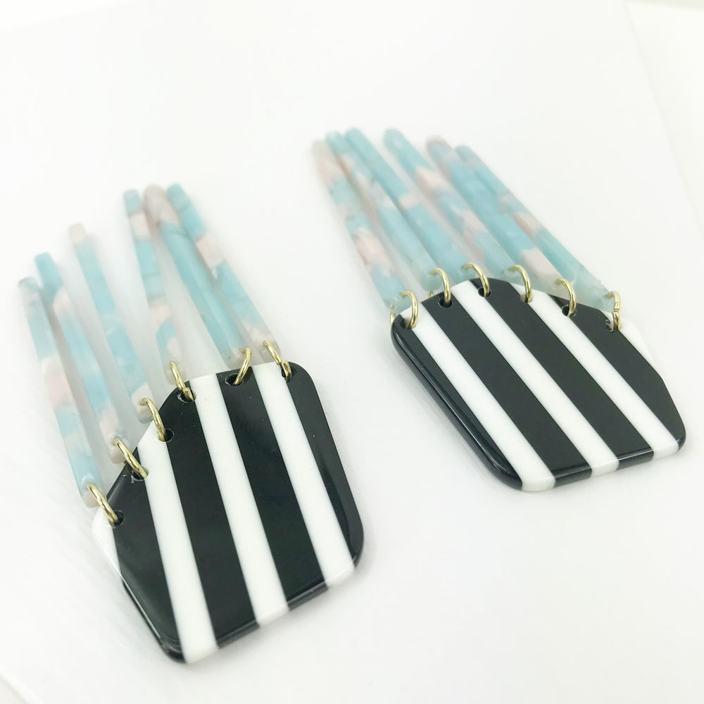 Shield Earrings in Black and White Stripe with Pink and Blue Fringe