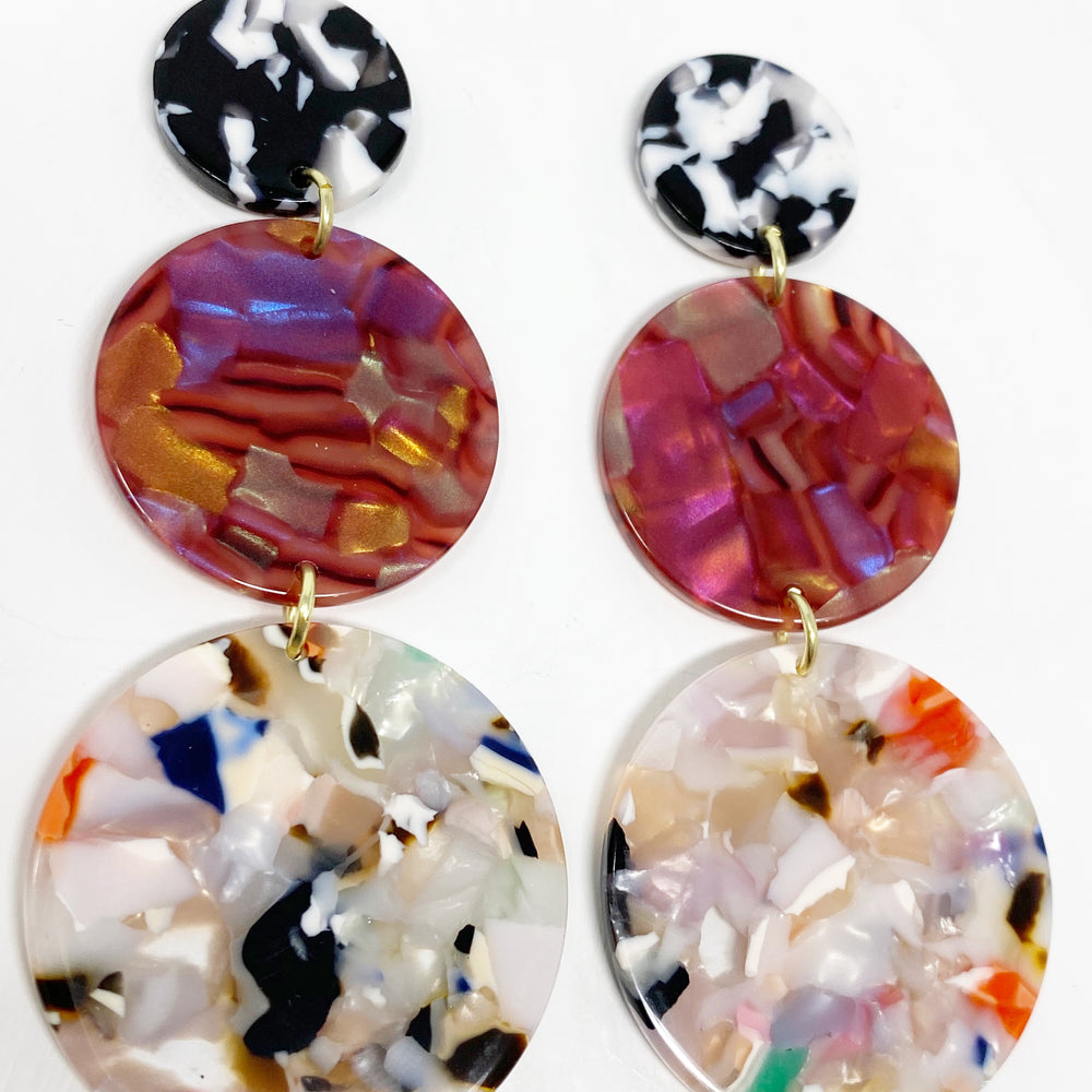 Dot Drop Earrings in Light Multicolor and Iridescent Pink